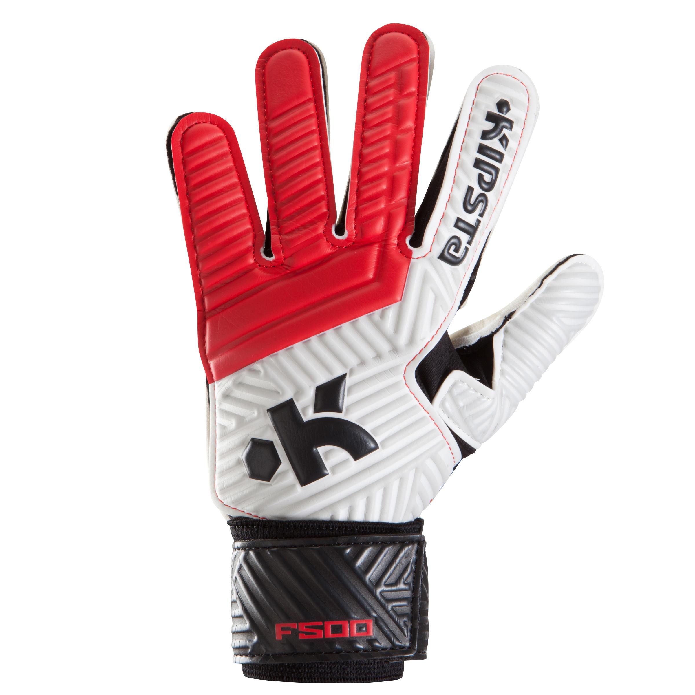 Kipsta gant de gardien de football enfant f500 rouge noir - Gants chauffants decathlon ...