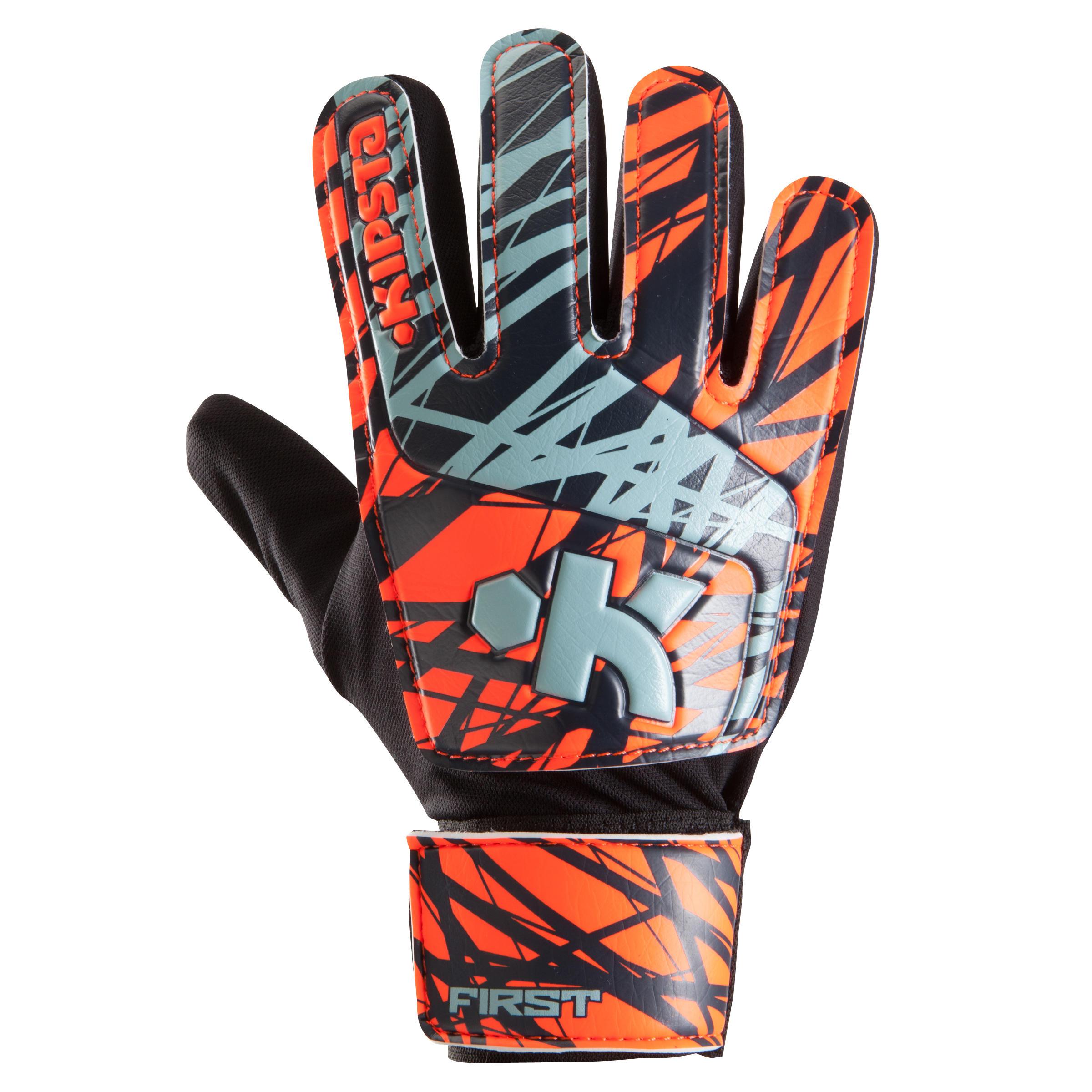 Kipsta Keepershandschoenen First voor volwassenen oranje zwart wit