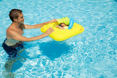 Inflatable baby seat buoy for swimming pool with porthole with handles 7-11 kg