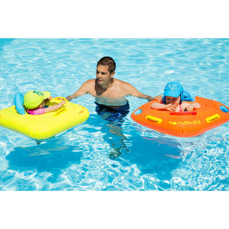 Baby Seat Swim Ring with Window and Handles - Yellow | Nabaiji