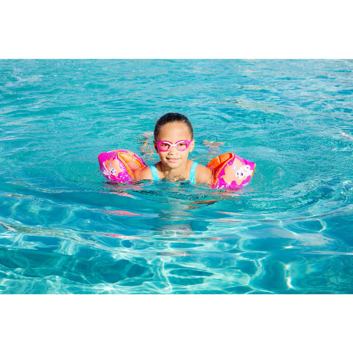 "15 -30 kg Children's Inner Fabric Swimming Armbands - Pink ""Mermaid"" print"