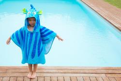 Kinderponcho met kap Zebro blauw - 1067456