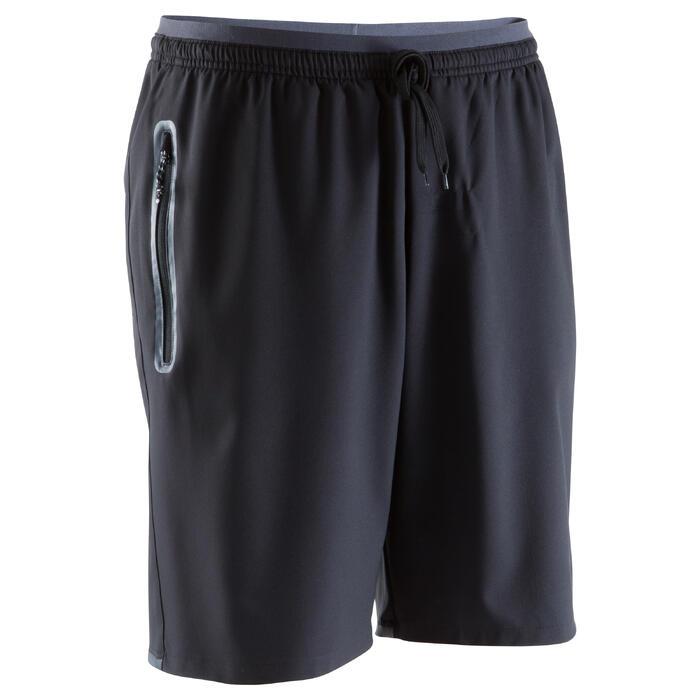 Short de football avec poches zippées adulte F500 noir - 1067795