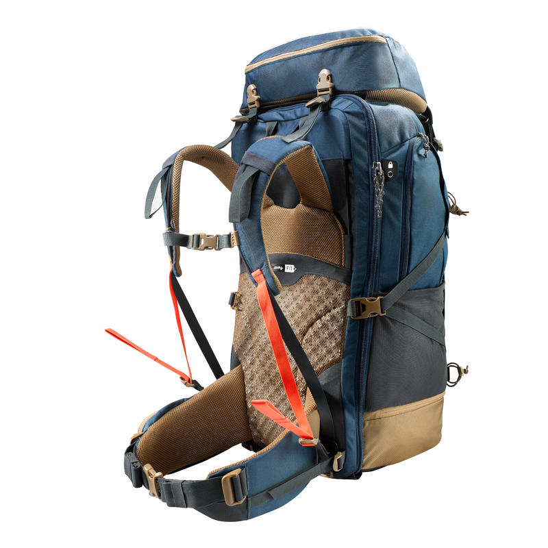 Men's Trekking Travel Backpack 70 Litres - TRAVEL 500 Blue