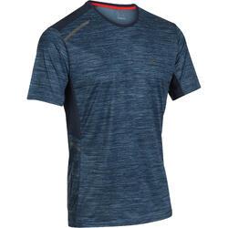 Heren T-shirt Run Dry+ voor hardlopen print blauw