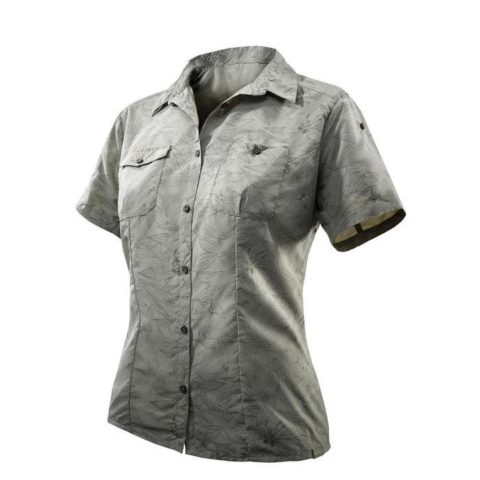 Chemise manches courtes trekking Arpenaz 500 femme beige imprimé - 1071063