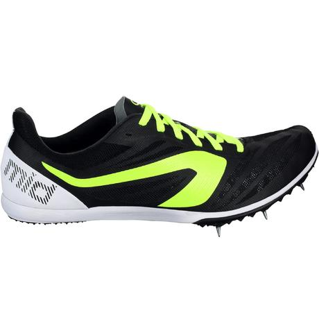 mid track trainers shoes with spikes black white kalenji