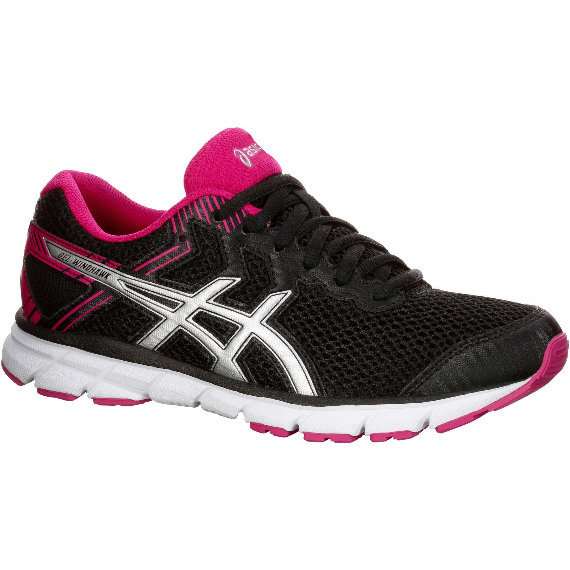 chaussure running course à pied femme ASICS GEL WINDHAWK noir rose