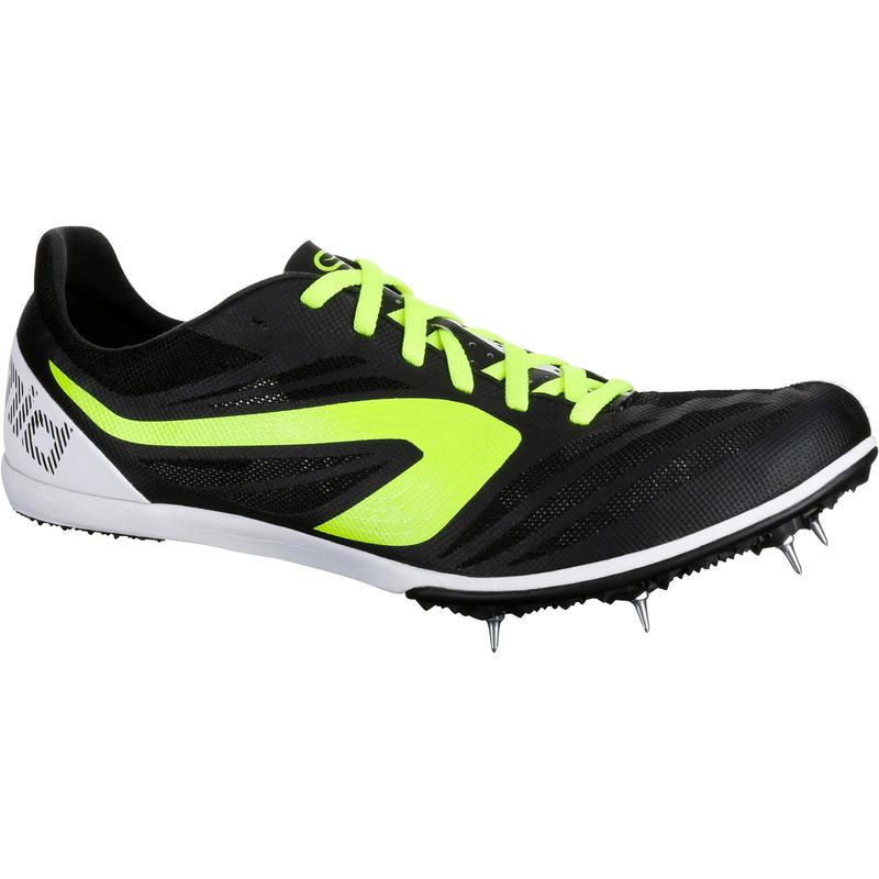MIDDLE-DISTANCE RUNNING TRAINERS WITH SPIKES BLACK YELLOW WHITE