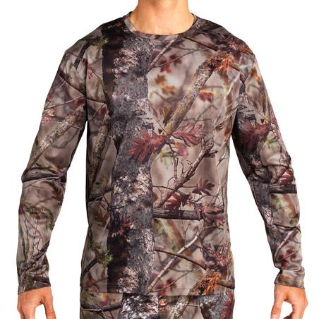 Hunting Breathable Long Sleeve T-Shirt 100 - Woodland Camouflage