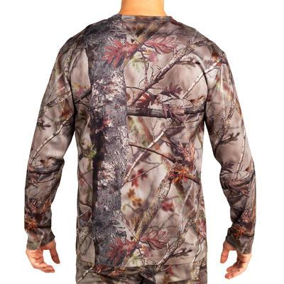 100 Breathable Long Sleeve Hunting T-shirt - Woodland Camo