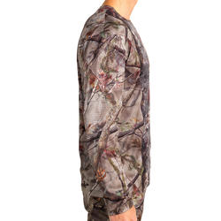 Hunting Breathable Long Sleeve T-Shirt 100 - Woodland Camouflage