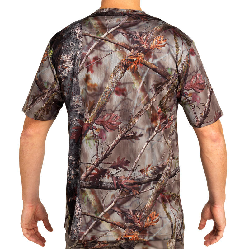 100 Breathable Short Sleeve Hunting T-shirt - Woodland Camo