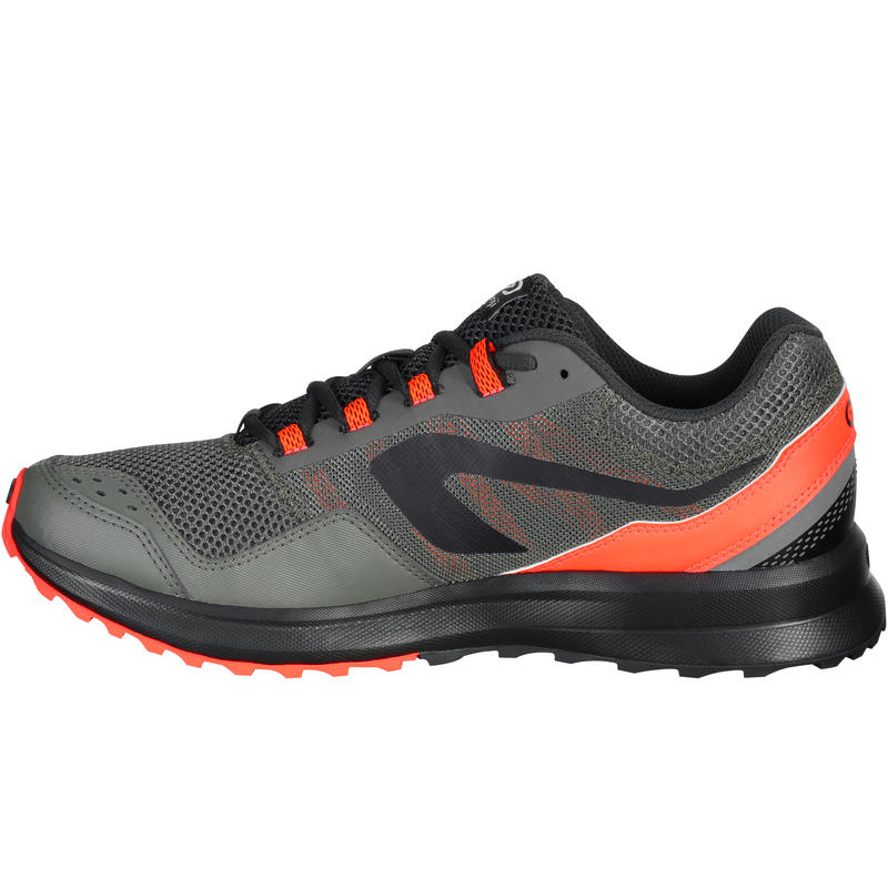 RUN ACTIVE MEN'S GRIP RUNNING SHOE - KHAKI/RED
