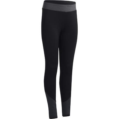 8668bf1d638b7 S500 Girls' Gym Leggings - Black/Grey   Domyos by Decathlon