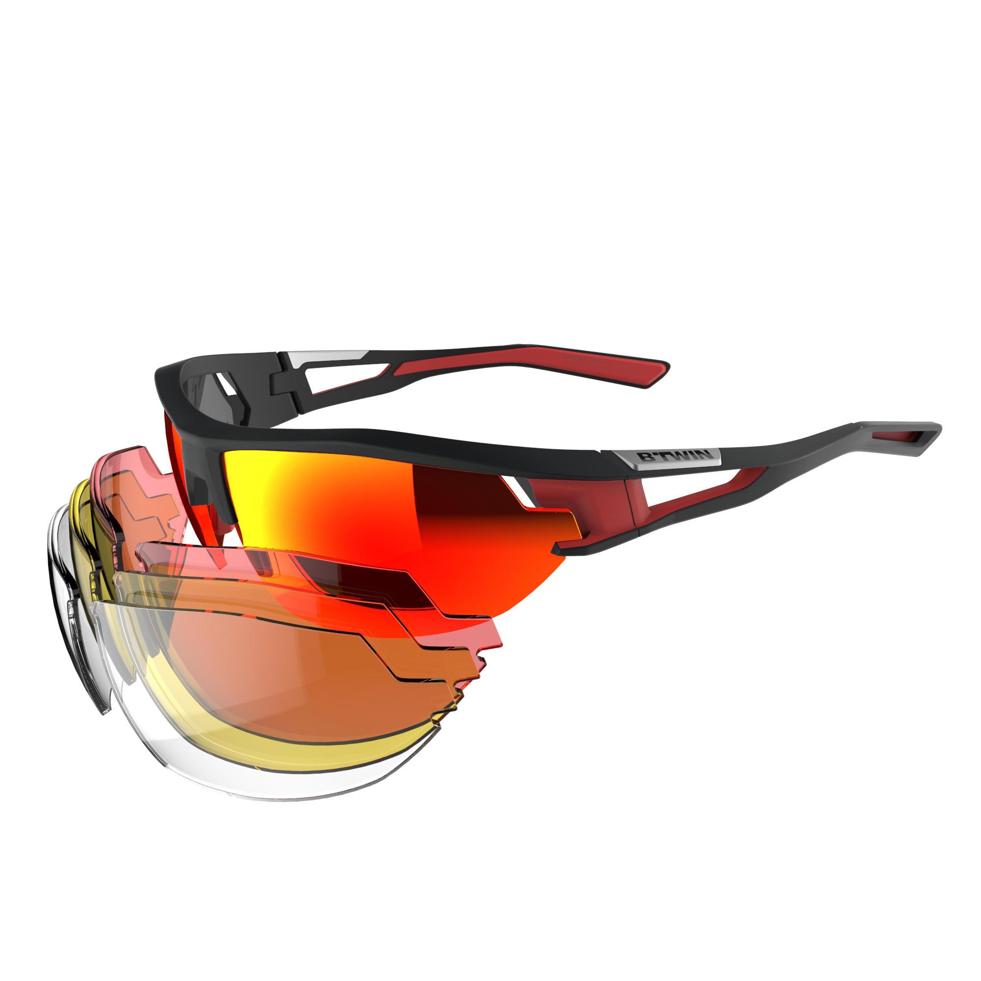 B'twin Fietsbril volwassenen Cycling 700 Red Pack - 4 verwisselbare glazen thumbnail