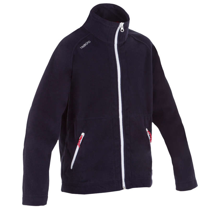 CRUISING RAINY AND COLD WEATHER JR Sailing - 100 Kids' Fleece - Dark Blue TRIBORD - Sailing Clothing