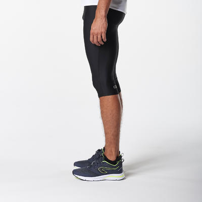 KALENJI DRY MEN'S BREATHABLE RUNNING CROPPED TROUSERS - BLACK