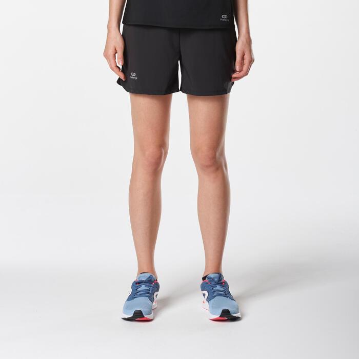 Pantalón Corto Deportivo Running Kalenji Run Dry Mujer Negro