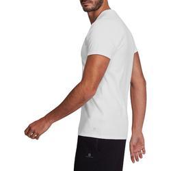 T-shirt 500 V-hals slim fit pilates en lichte gym heren wit