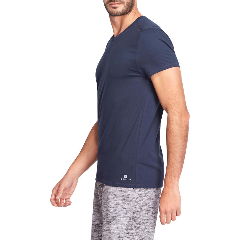 500 V-Neck Slim-Fit Gentle Gym & Pilates T-Shirt - Navy Blue