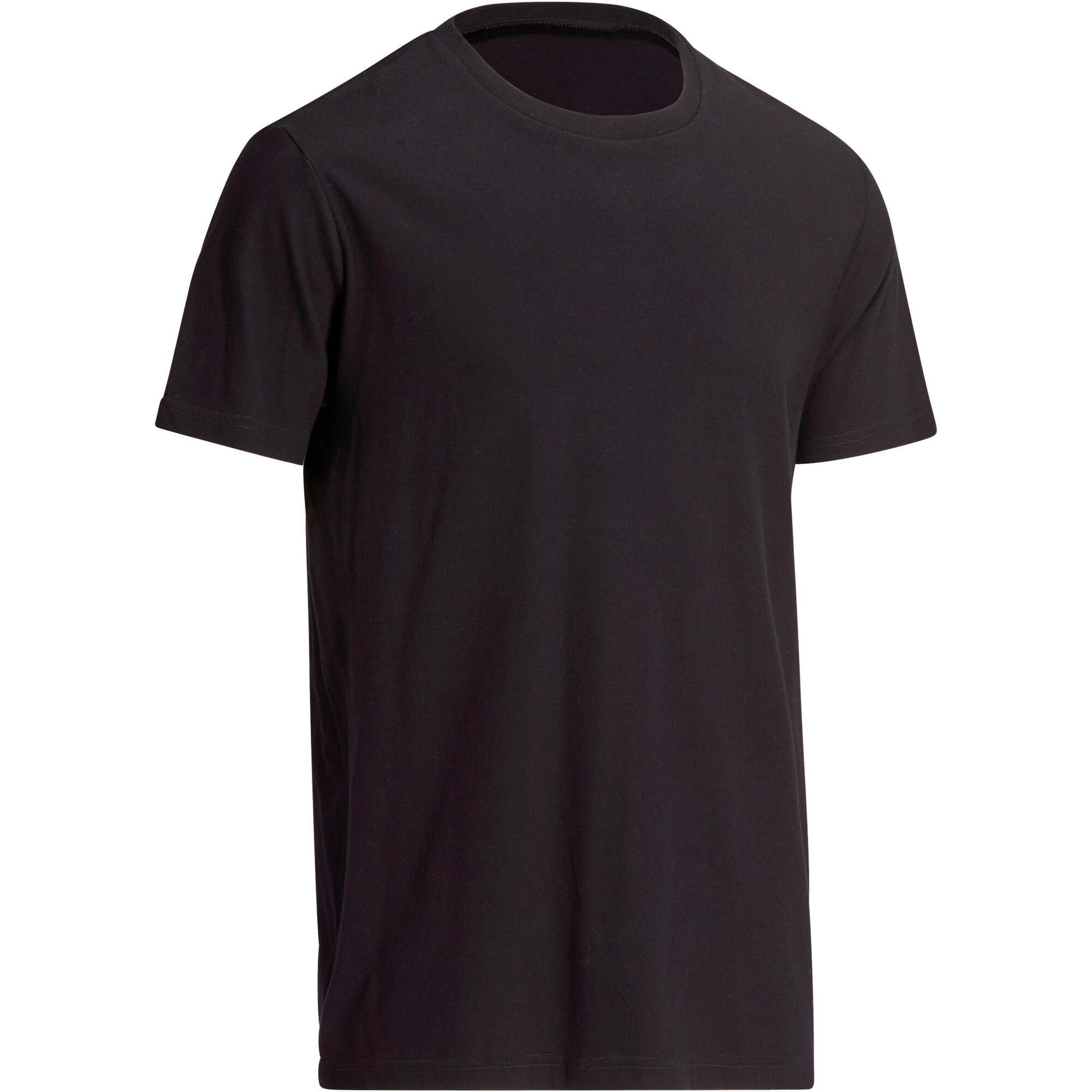 637c1c2a8 100 Sportee Regular-Fit 100% Cotton Gym Stretching T-Shirt - Black | Domyos  by Decathlon