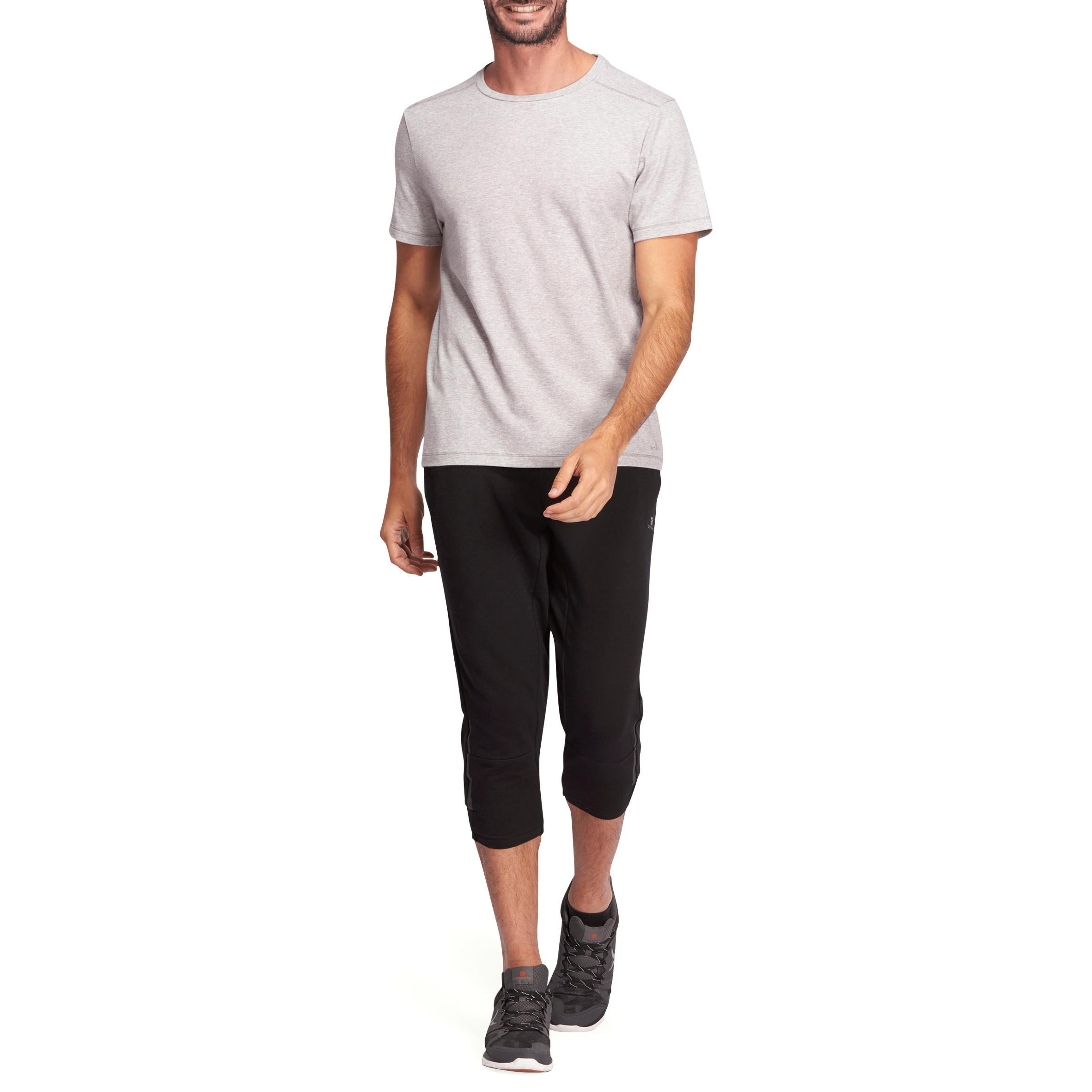 T-Shirt 500 regular Pilates Gym douce homme gris clair