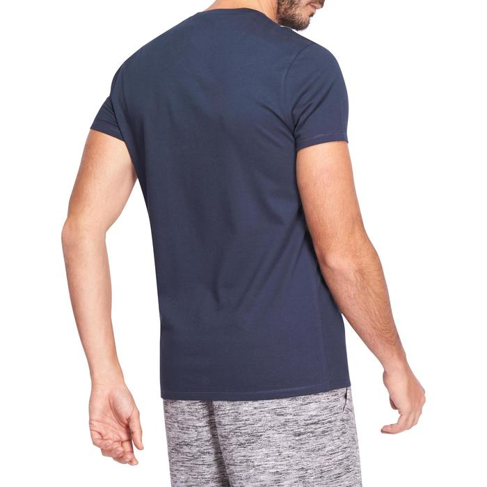 T-shirt 500 V-hals slim fit pilates en lichte gym heren marineblauw