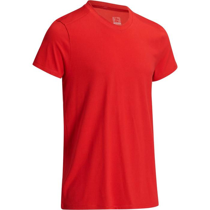 T-shirt 500 col V slim Gym Stretching homme - 1074000