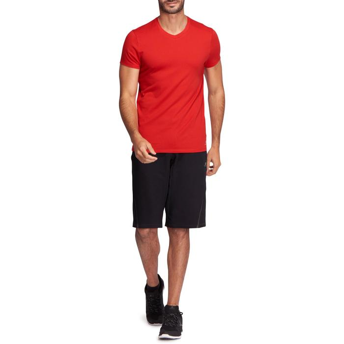 T-shirt 500 col V slim Gym Stretching homme - 1074002