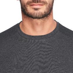 T-shirt 500 regular Pilates Gym douce homme gris foncé
