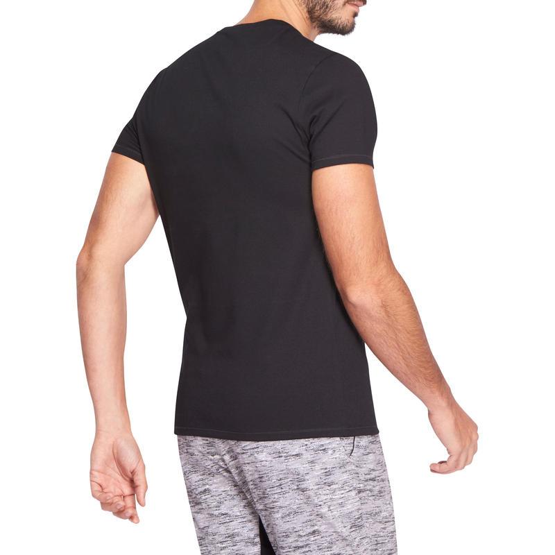 T-shirt 500 col V slim Pilates Gym douce noir homme
