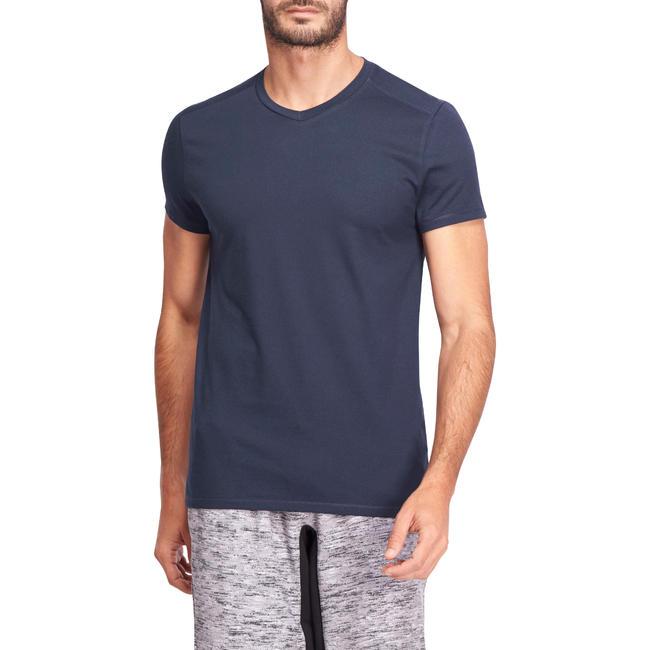 Men's Gym T-Shirt Slim Fit 500 - Navy Blue
