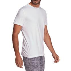 Camiseta Manga Corta Gimnasia Pilates Domyos 100 Hombre Blanco Algodón