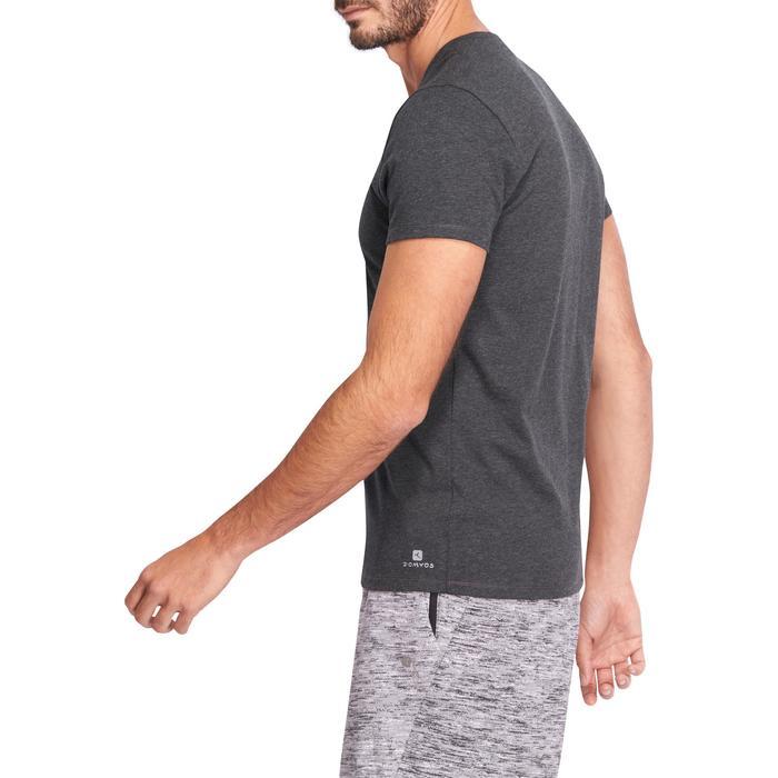 Camiseta Manga Corta Gimnasia Pilates Domyos 500 Hombre Gris Oscuro Algodón