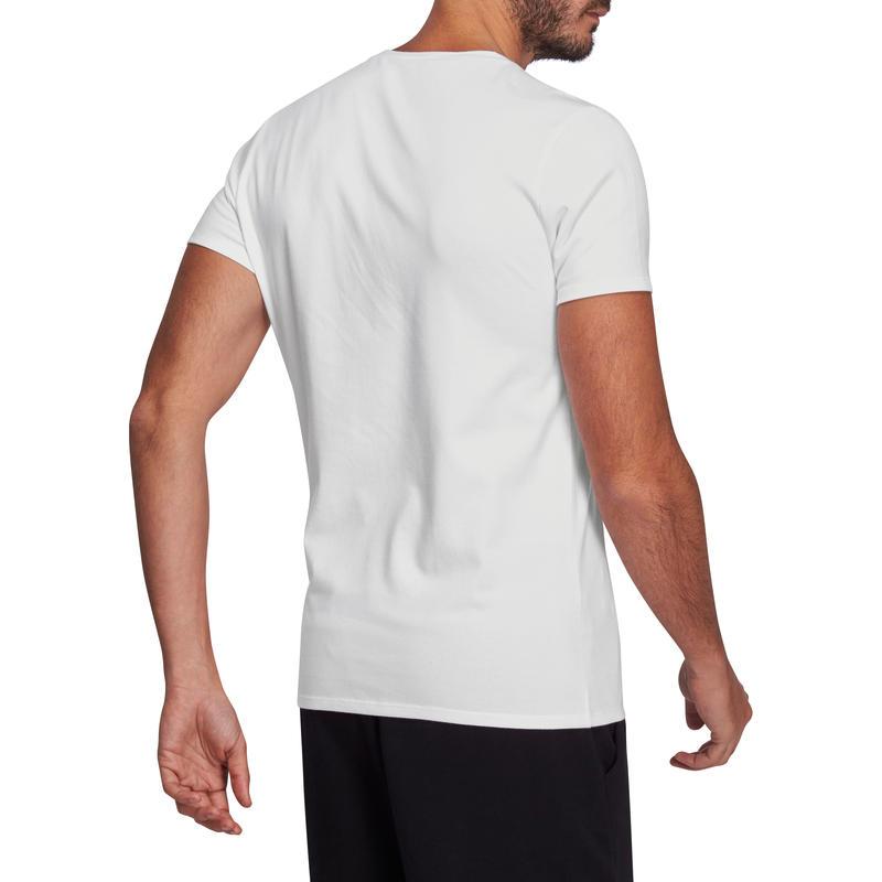 Camiseta 500 cuello en V slim Pilates y Gimnasia suave blanco hombre