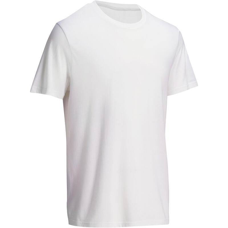 T-Shirt Sportee 100 regular 100% coton Gym Stretching blanc homme