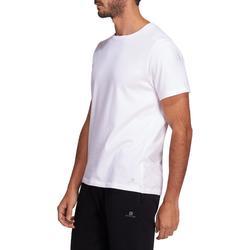 Camiseta Manga Corta Gimnasia Pilates Domyos 500 Hombre Blanco Algodón