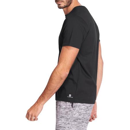 T-shirt 500 régulierr Pilates et gym douce noir homme