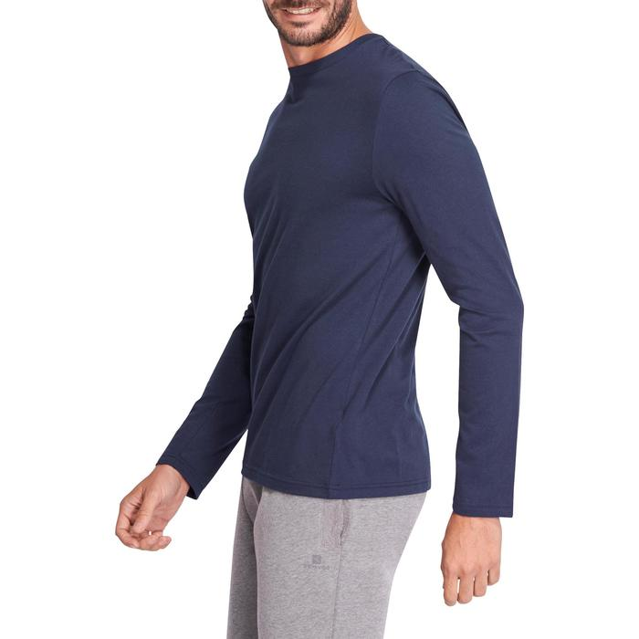 Langarmshirt Gym 100 Regular Herren Fitness marineblau
