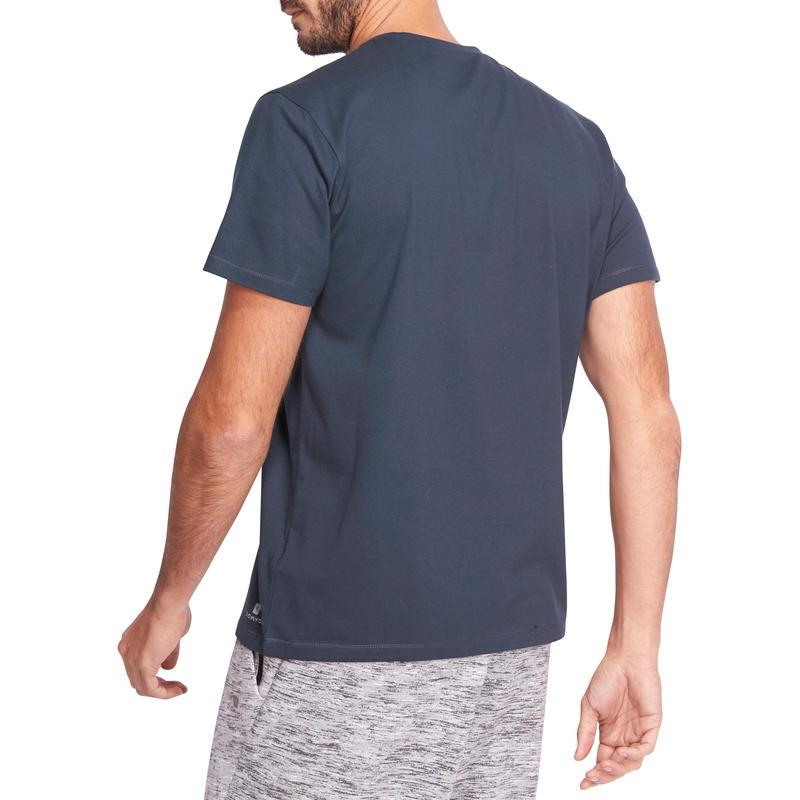 500 Regular-Fit Half-sleeved Pilates & Gentle Gym T-Shirt - Navy Blue