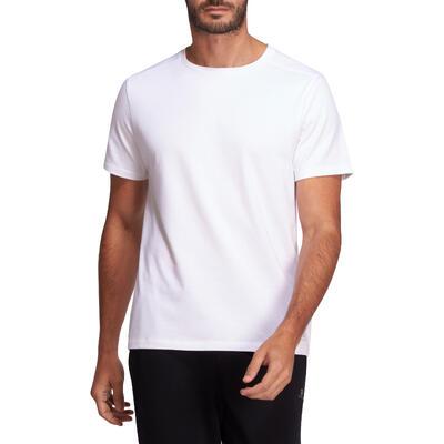 Camiseta Algodón Manga Corta regular Fitness Nyamba 500 Hombre Blanco