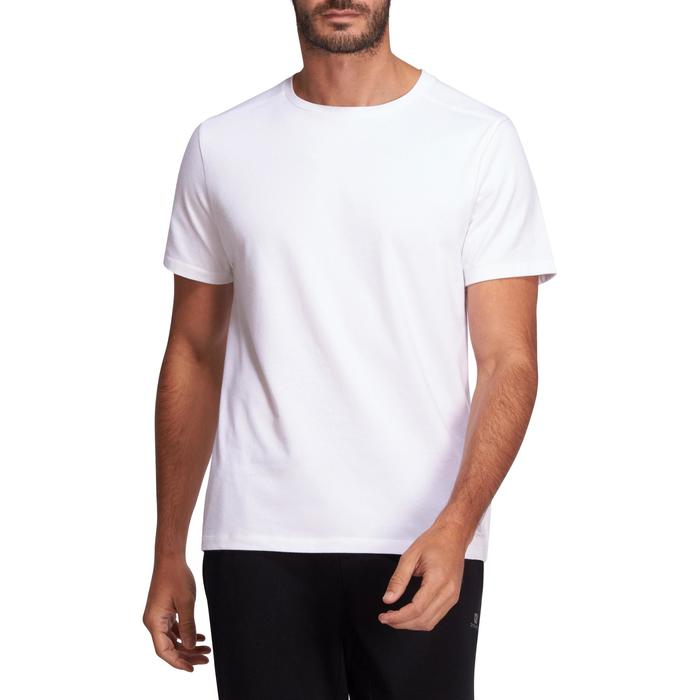 T-shirt 500 regular Pilates Gym douce blanc homme