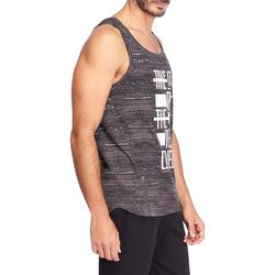 Tanktop slim fit 900 Gym en pilates heren gemêleerd zwart/grijs