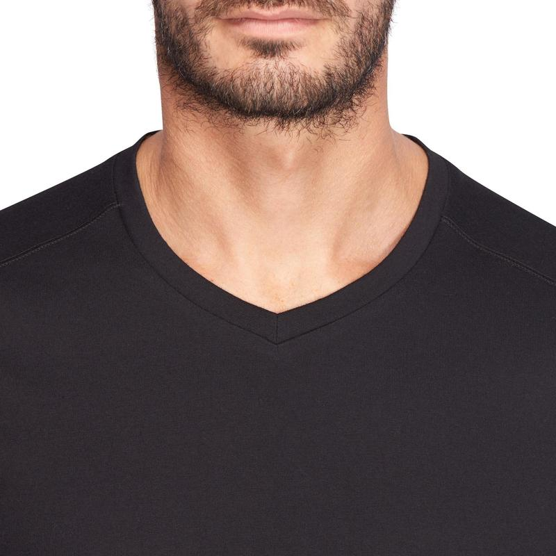 442d6f230 500 Slim-Fit V-Neck Pilates & Gentle Gym T-Shirt - Black | Domyos by ...