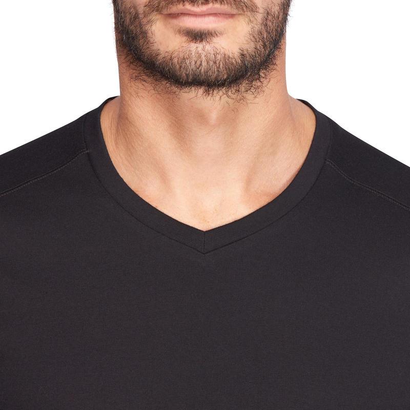 500 Slim-Fit V-Neck Pilates & Gentle Gym T-Shirt - Black