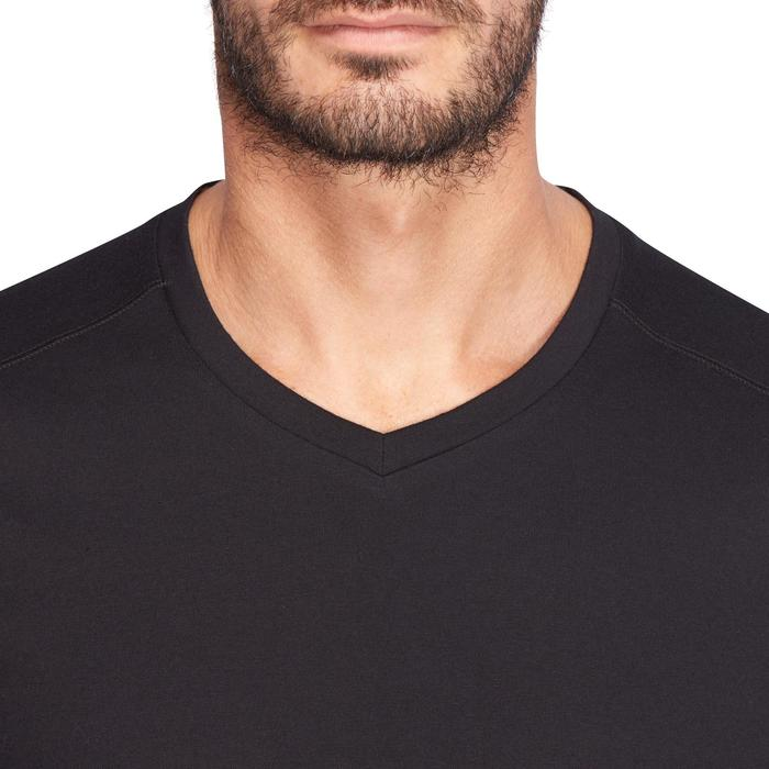 T-shirt 500 col V slim Pilates Gym douce noir homme