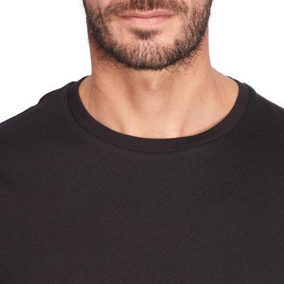 100 Sportee Regular-Fit 100% Cotton Gym Stretching T-Shirt - Black
