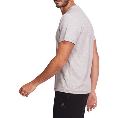 T-Shirt 500 regular Pilates Gym douce homme gris clair