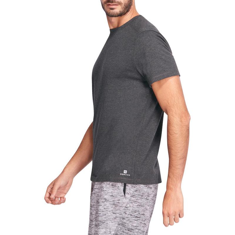 เสื้อยืดทรงมาตรฐานสำหรับกายบริหารทั่วไปและพิลาทิสรุ่น 500 (สีเทาเข้ม)